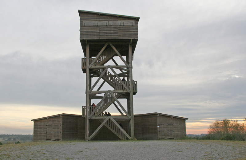 Tower hide in Arjuzanx reserve © Ken Hall (click for larger image)
