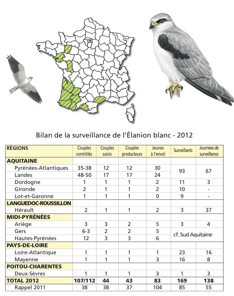 Surveillance results for Black-shouldered Kite 2012 © LPO (click for larger image)